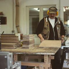 Radu checking on some planks before milling them