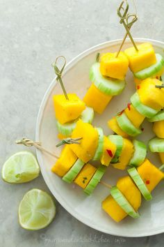 Mango Cucumber Skewers raw vegan paleo summer appetizer Spicy Mango Cucumber Salad Skewers | gourmande in the kitchen