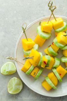 Spicy mango cucumber salad skewers