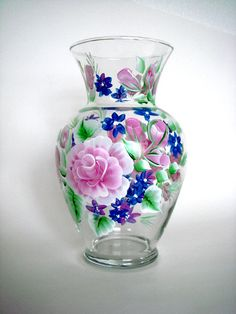 Hand Painted Glass Vase with Pink Roses .