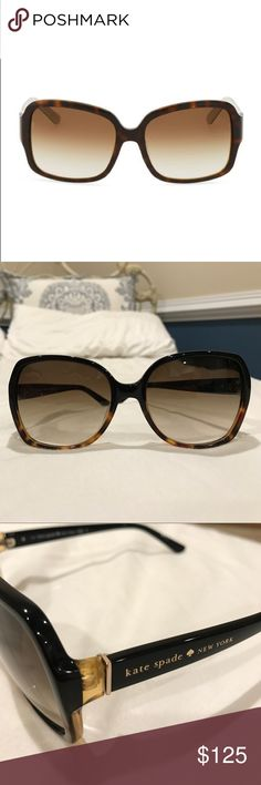 Kate Spade sunglasses Amazing condition!! Only worn once. No signs of wear. Authentic Kate spade sunglasses . Comes with brand new glasses cloth and original sunglass case. Tortoise frame kate spade Accessories Sunglasses