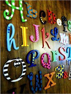 hand paint, huge hand, diy baby playroom, painted wooden alphabet, alphabet set