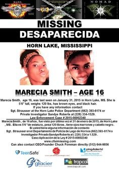 1/31/2015: Marecia Smith, age 16, is #missing from Horn Lake, Mississippi.