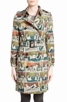 Main Image - Burberry Kensington Reclining Figures Print Cotton Trench Coat