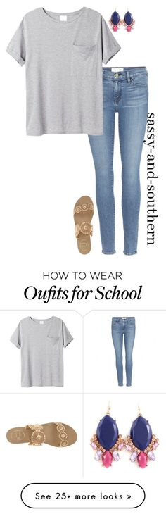 """""""cute school outfit"""" by sassy-and-southern on Polyvore featuring Frame Denim, AR SRPLS and Jack Rogers"""