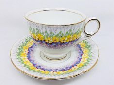 """Royal Stafford """"Glendale"""" Tea Cup and Saucer with Blue & Yellow Flowers, Vintage Bone China"""