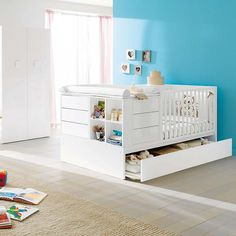 Convertable Baby/kid White/sand Gloss Cot Voyager By Pali
