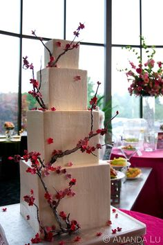 Cherry Blossom Wedding Cake #Landerhaven Executive Caterers