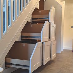 Space Tidy® specialise in developing and installing under stair storage. Using our very own under stair storage system we do what our name suggests, we make your cluttered and messy Space Tidy. Shoe Storage Under Stairs, Under Stairs Nook, Under Stairs Storage Solutions, Stairway Storage, Closet Under Stairs, Stair Shelves, Hallway Storage, Under Staircase Ideas, Under Stairs Drawers