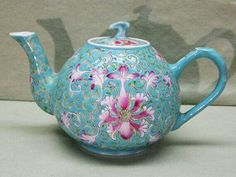 ✿Green & Turquoise Teapot✿ Vintage Chinese Pottery Famille Rose Miniature Teapot
