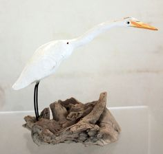 Vintage Whitton Hand Carved American Egret