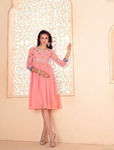 Kana Fashion Cool Peach Georgette & Embroidery Designer Kurti Kurtas and Kurtis For Women on Shimply.com