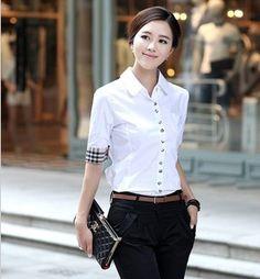 大码衬衫女短袖夏季韩版蝴蝶结格子泡泡袖OL修身显瘦商务职业正装-淘宝网