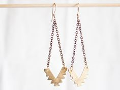 Chevron Brass Earrings SouthWest chain. $45.00, via Etsy.