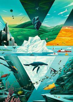 Esse trabalho fará você pensar melhor no clima. Feito por Florent Hauchard para a Fondation BNP PARIBAS, a ilustração tem o propósito de mostrar as mudanças climáticas em diversos ambientes.