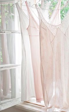 ~Pink & White Cottage Life~ Beautiful transparent fullslips. I love all of them. I want wear them all.