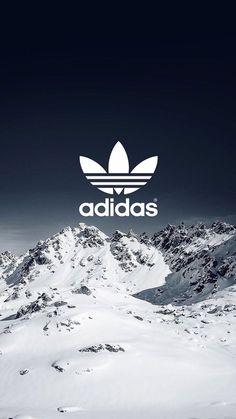 fond d'écran portable, photo avec paysage de montagnes enneigées et logo adidas en style swag