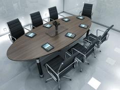 Dark Wood Oval Meeting Room Desk And Black Chairs Modern Brown
