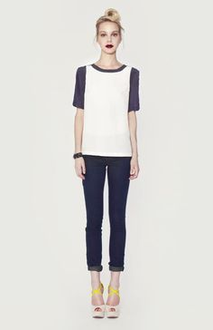 Silk baseball tee. This is so versatile and can be worn casually with jeans or under a blazer for work.