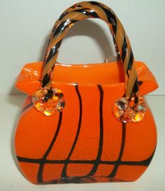 Murano Art Glass Purse Tiger Stripes Cased Hand Blown Bag Pocket Book Pontil