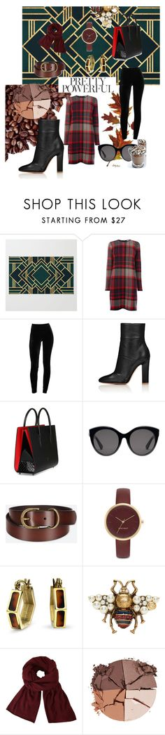 """""""fashion job"""" by aisharthijabi ❤ liked on Polyvore featuring Warehouse, Christian Louboutin, Gucci, Uniqlo, Nine West, Bling Jewelry, John Lewis and lilah b."""