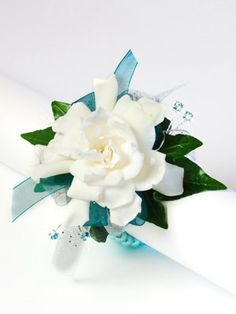 Blue & White corsage #Homecoming