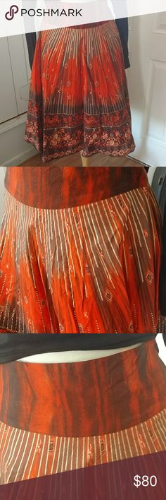 A H&M circle skirt H&M Orange, Brown and Gold trim circle High Waist Skirt H&M Skirts