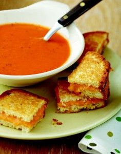 Tomato Soup with Grilled Cheese Squares