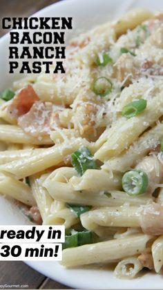 Pasta Recipes, Chicken Recipes, Dinner Recipes, Cooking Recipes, Healthy Recipes, Pasta Dishes, Food Dishes, Chicken Bacon Ranch Pasta, Bacon Pasta