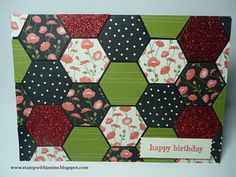 handcrafted quilt card .. Pretty Petals papers and Hexagon Punch ... luv this combo ... Stampin' Up!