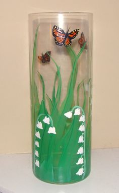 Lily of the Valley and Monarch Hand Painted Butterfly Glass Vase, Painted Glass, Dishes & Ceramic Crafts