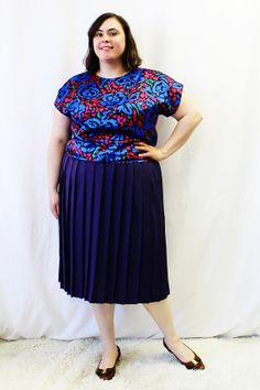 Plus Size  Vintage Floral Satin Dolmen Sleeve by TheCurvyElle, $18.00