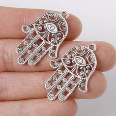 83ce8f2af32c Aliexpress.com  Comprar Penney venta caliente 22   33 mm 6 unids aleación  de Zinc plata antigua plateada mano colgantes encantos de la forma del  Metal de la ...