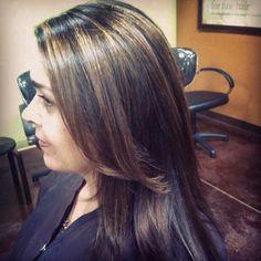 Balyage on brown hair