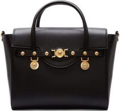 Versace Black Leather & Gold Medusa Medallion Tote Bag