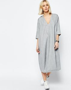 Image 1 - ASOS WHITE - Robe mi-longue texturée à col V