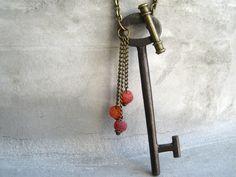 Antique Skeleton Key Necklace Key Necklace by PieceLust on Etsy