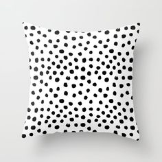 Preppy Brushstroke Free Polka Dots Black And White Spots Dots Dalmation Animal Spots Design Minimal Throw Pillow by Charlottewinter - Cover x with pillow insert - Indoor Pillow Black And White Pillows, White Throws, White Throw Pillows, Down Pillows, Throw Pillow Covers, Futon Covers, Accent Pillows, Ideas Hogar, My New Room