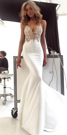 Charming Lace Sexy Backless Mermaid Jersey Prom Dresses, Customized service and Rush order are available. *** Customers need to know : All of the dresses don't come Lace Mermaid Wedding Dress, Mermaid Prom Dresses, Dream Wedding Dresses, Wedding Gowns, Bridesmaid Dresses, Dress Prom, Backless Wedding, Tight Wedding Dresses, Lace Wedding