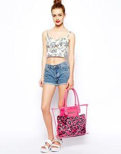 Vergrößern New Look – Transparente Strandtasche mit herausnehmbarem Beutel mit Leopardenmuster