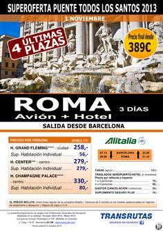 ROMA/3 días ¡¡Superoferta Pte. Todo Santos Últimas Plazas!! sal. Barcelona: 1 Noviembre, precio 389€ - http://zocotours.com/roma3-dias-superoferta-pte-todo-santos-ultimas-plazas-sal-barcelona-1-noviembre-precio-389e/