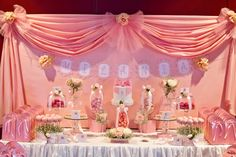 Little Big Company | The Blog: Bows and Pink Roses Themed Table for Milani's 1st birthday and Christening by Little Wish Cakes