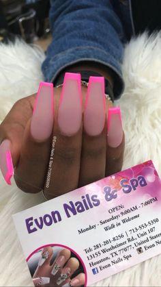 Bling Acrylic Nails, Acrylic Nails Coffin Short, Best Acrylic Nails, Acrylic Nail Designs, Coffin Nail Designs, Matte Pink Nails, Acrylic Nail Set, Kylie Nails, Nagel Hacks