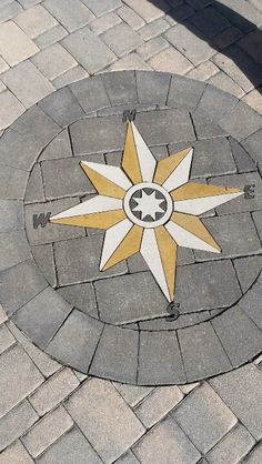 Compass rose in stone inlay