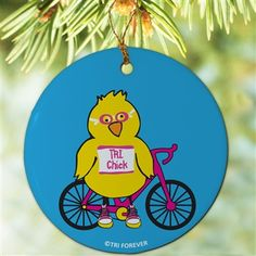 Triathlon Porcelain Ornament TRI Chick - Our porcelain ornaments make the perfect gift for any triathlete or fan. #holiday #ornament #tri