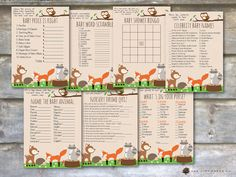 Woodland Baby Shower Games  Animal Baby by OakCityPaperCompany
