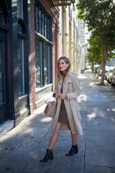 MICHAEL Michael Kor's suede trench coat, with a Michael Kors dress, purse, and booties