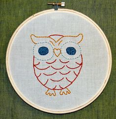 Hoot Owl Embroidery Hoop Art #owl #hoop #embroidery Embroidery Hoop Art, Hand Embroidery Patterns, Cross Stitch Embroidery, Contemporary Embroidery, Modern Embroidery, Red Words, Fun Arts And Crafts, Bird Crafts, Owl Art