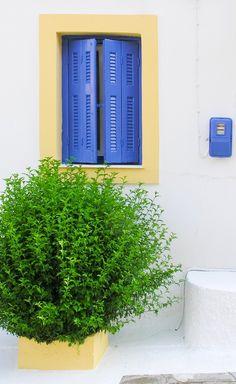 Blue Window - A typical Greek scene