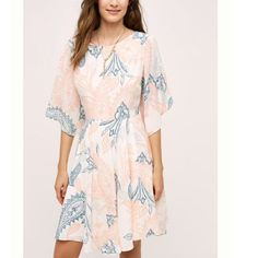 Hp! Shoshanna Anthropologie Silk Flutter Dress